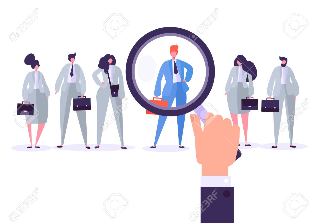 Recruitment management characters, best job candidate. Human resources searching for individuality. Hand holds a magnifier and selects individual person from group of people. Vector illustration - 123178852