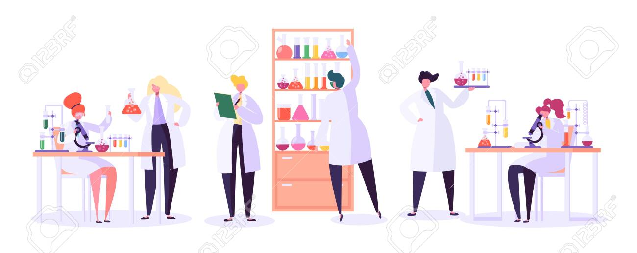 Pharmaceutic Laboratory Research Concept. Scientists Characters Working in Chemistry Lab with Medical Equipment Microscope, Flask, Tube. Vector illustration - 123178856