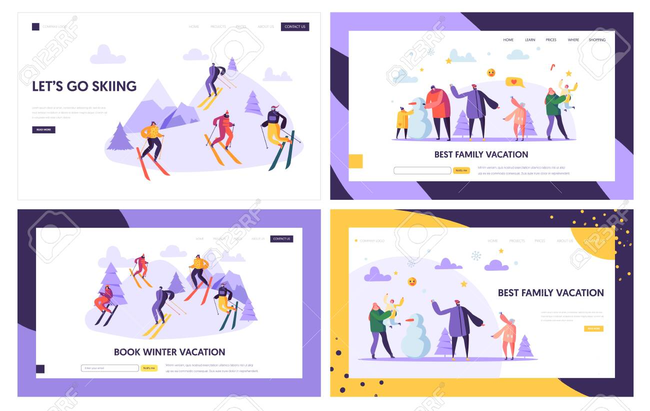 Winter Vacation Landing Page Template. Active People Characters on Ski Resort, Family Holidays, Winter Sports for Web Page or Website. Vector illustration - 123178862