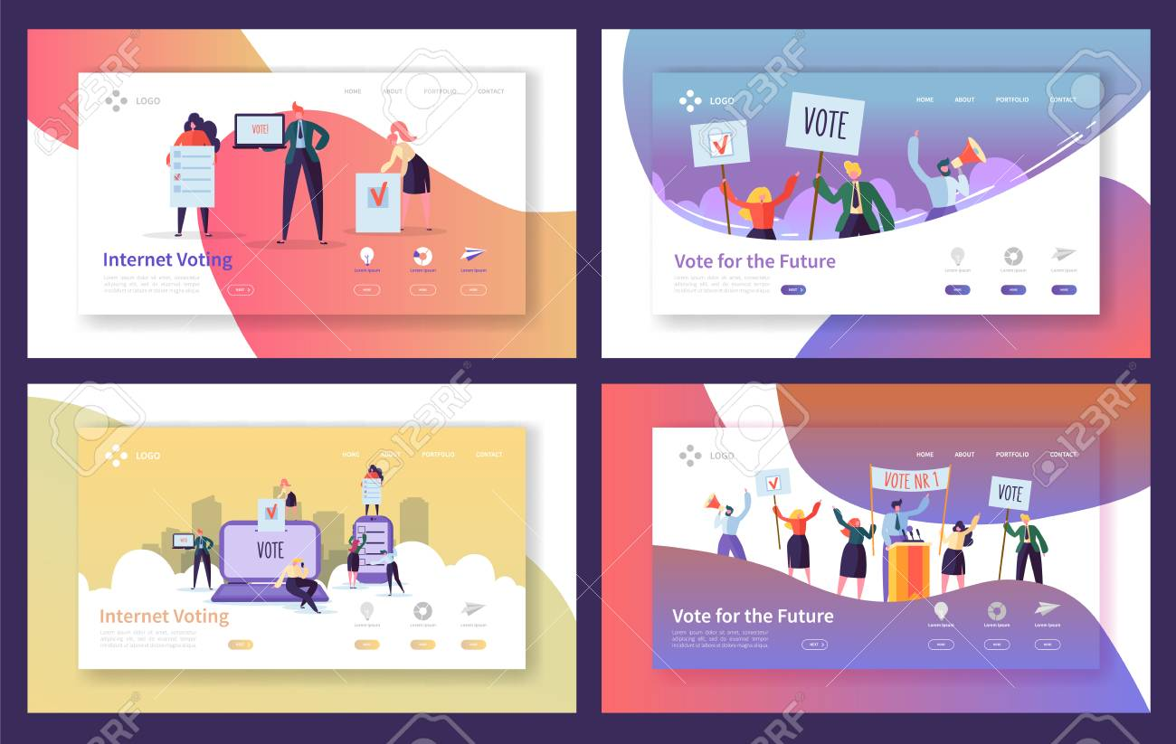 Voting Elections Landing Page Template Set. Business People Characters Internet Voting, Political Meeting Concept for Website or Web Page. Vector illustration - 123178863
