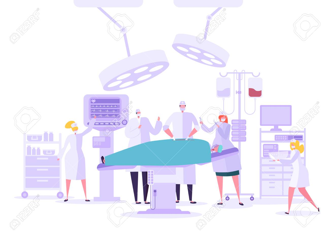 Medical hospital surgery operation in operating room. Doctor and Nurse Characters performing surgical operation on Patient. Vector illustration - 123178873