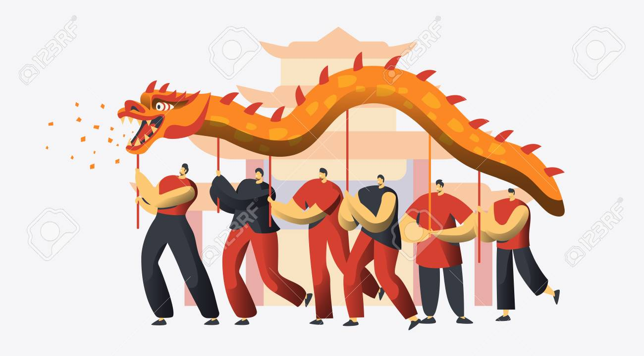 Chinese New Year Dragon Dance Festival. Asian Lunar Holiday Character Traditional Party Parade. Happy Man Celebrate Prosperity Concept for Banner Flat Cartoon Vector Illustration - 113974688