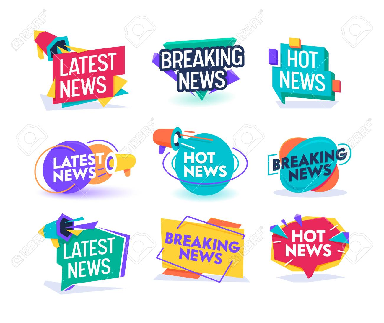 Hot Latest News Daily Update Badge Template Set. Important Breaking Report Label Geometric Design. Online Magazine Typography Message Information Sticker Sign Flat Vector Illustration - 118161086