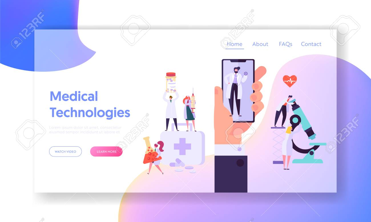 Online Medicine Equipment Concept Landing Page. Modern Smartphone App for Doctor Consultation Service. Hospital Diagnostic Technology Website or Web Page. Flat Cartoon Vector Illustration - 123179432