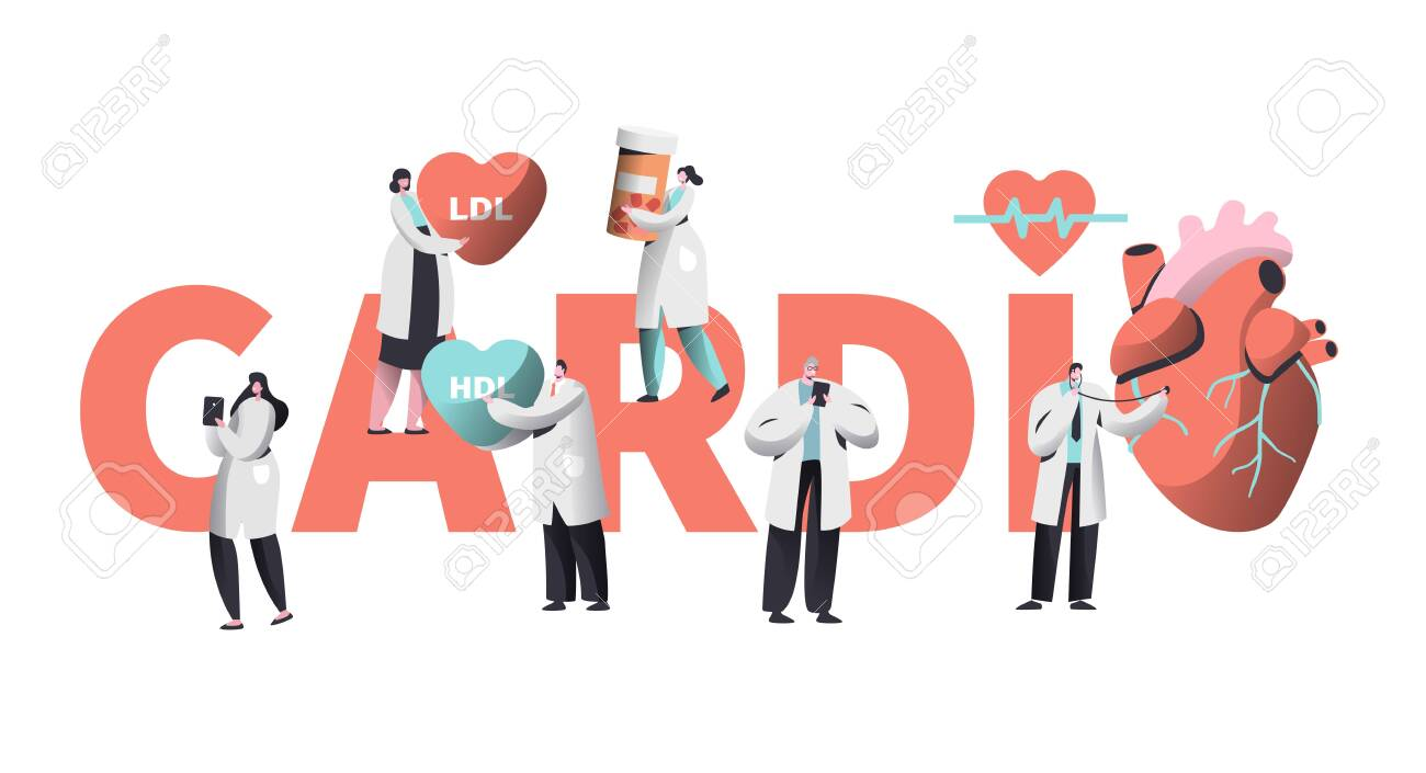 Medical Cardiology Worker Care Heart Health Typography Banner. Team Character for Poster Background. Pill for Treatment. Emergency Help First Aid or Healthcare Concept Flat Cartoon Vector Illustration - 123179482
