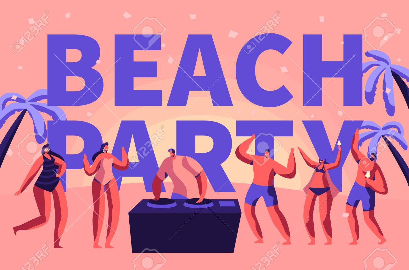 Summer Beach Party Vacation Rave Typography Banner  Tropical