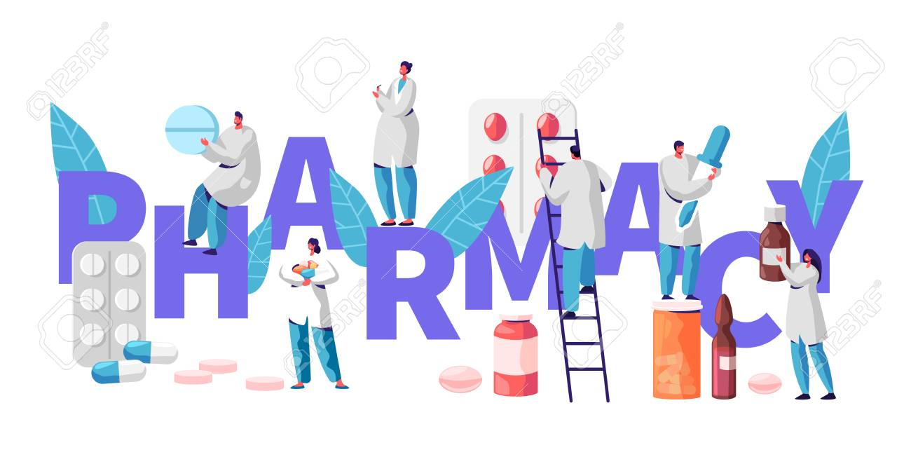 Pharmacy Business Drug Store Industry Character Typography Poster. Pharmacist Cure Patient. Professional Drugstore Product. Healthcare Online Industry Vitamin Pill Flat Cartoon Vector Illustration - 118851176