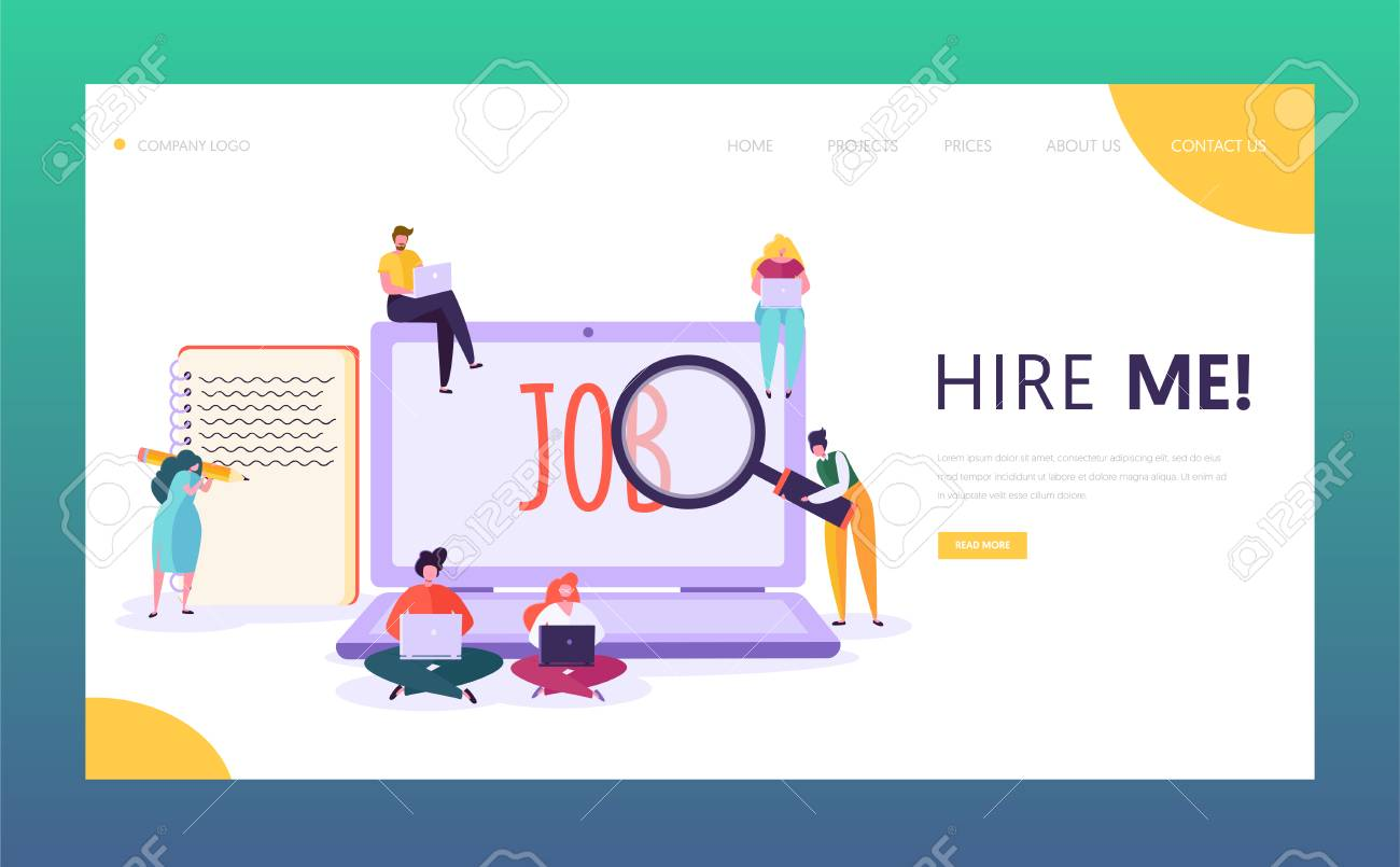Online Job Search Concept Landing Page. Male and Female Character Write Creative Resume Looking for Good Salary Vacancy. Human Resource Website or Web Page. Flat Cartoon Vector Illustration - 118851181