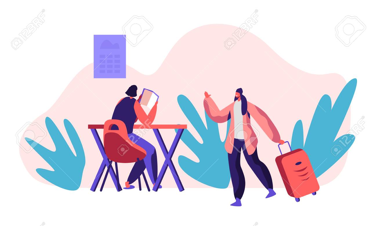 Smiling Girl Character Living Hostel Kitchen Room with Big Suitcase. Cheap Hotel Concept. Woman at Table Read Book. International Economy Travel. Weekend Trip Flat Cartoon Vector Illustration - 121233804