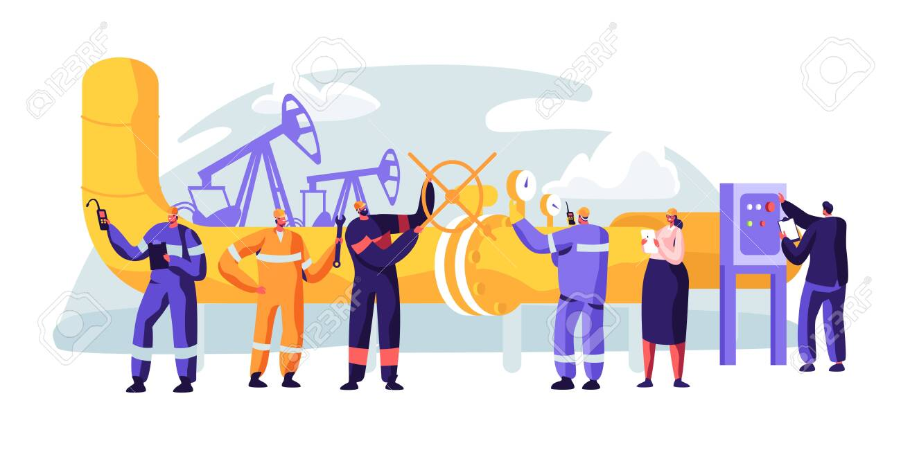 Oil Pipeline Service. Character Control and Checking Cathodic Protection Level. Surveillance Construction, Erosion or Leaks. Transportation Liquid or Gas. Flat Cartoon Vector Illustration - 123179855