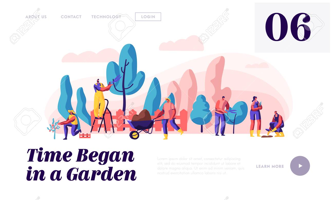 People Gardener and Farmer Work in Garden Landing Page. Man with Scissors and Secateurs Trimming Tree. Woman Harvest Apple. Female Planting Website or Web Page. Flat Cartoon Vector Illustration - 121234280