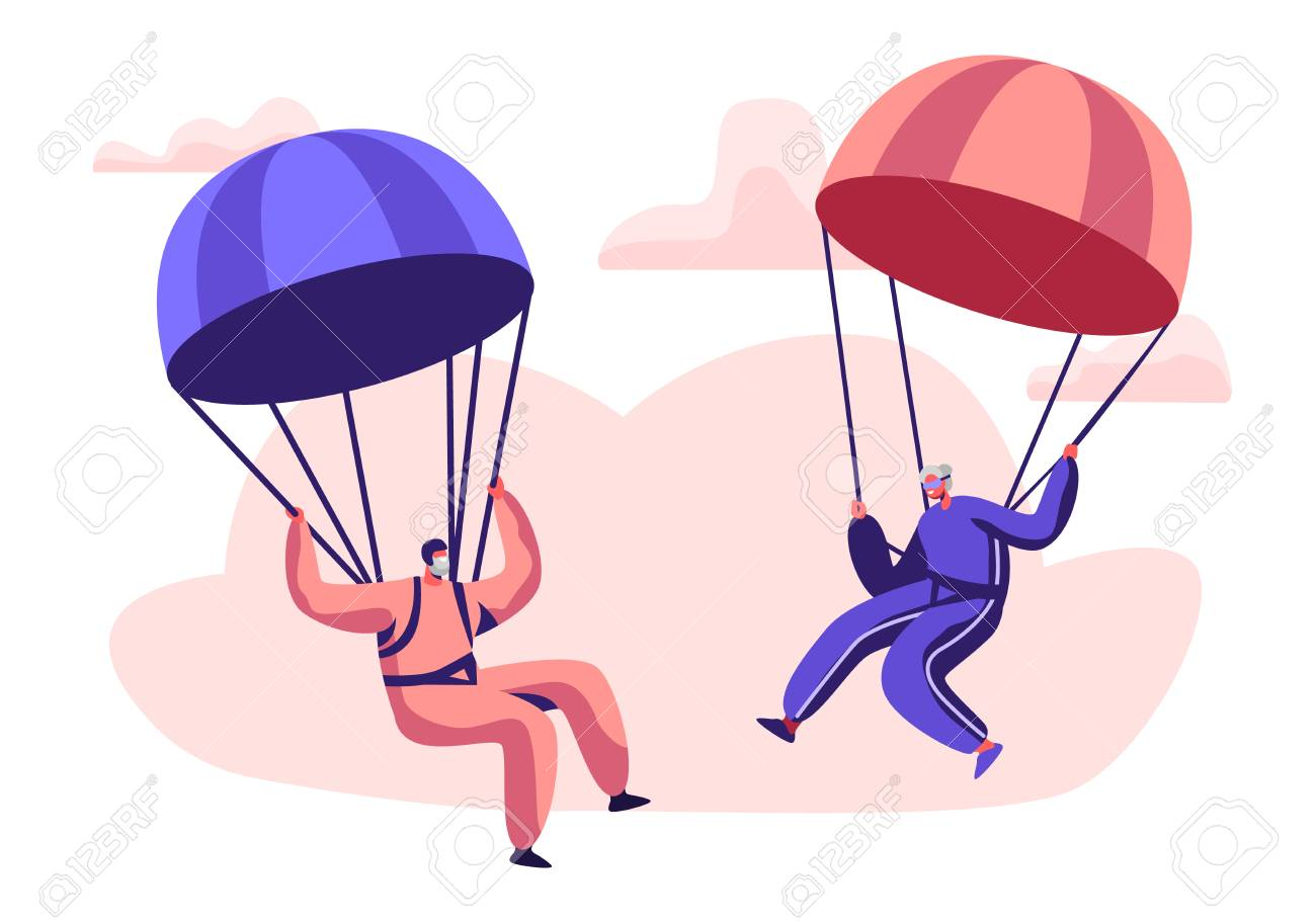 Happy Aged Pensioner Characters Doing Extreme Sport, Skydiving with Parachute, Senior Man and Woman Skydivers Wearing Sports Wear Uniform Floating in Sky with Chutes. Cartoon Flat Vector Illustration - 121234342