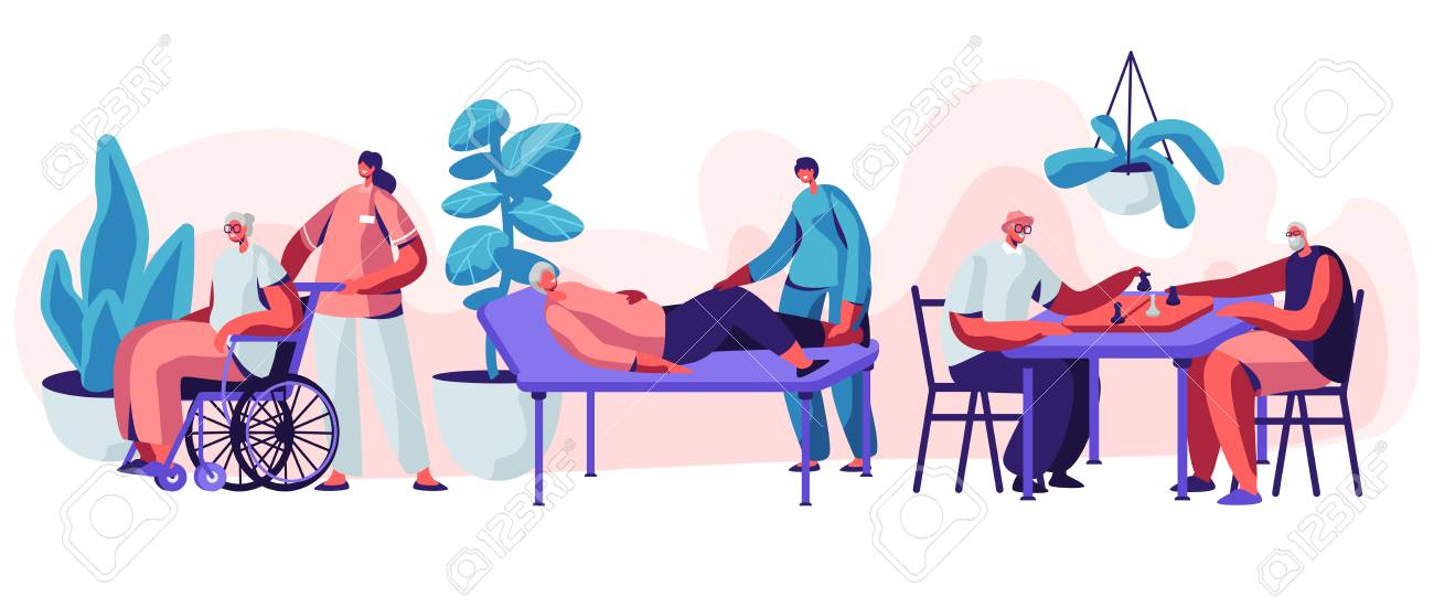 Help Old Disabled People in Nursing Home. Social Worker Community Care of Sick Seniors on Wheelchair, Skilled Nurse Residential Healthcare, Physical Therapy Service. Cartoon Flat Vector Illustration - 123180022