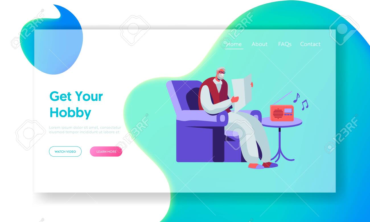 Senior Man Reading Newspaper in Armchair and Listening Music on Radio. Aged Male Character Hobby and Leisure in Nursing Home. Website Landing Page, Web Page. Cartoon Flat Vector Illustration, Banner - 123180151