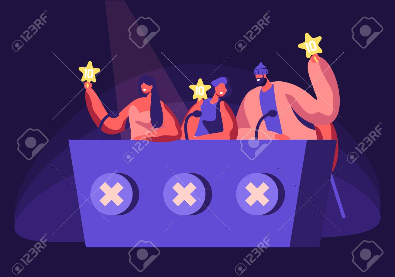 Celebrities Judging Participants during Entertainment on Talent Show or Artists Stage Audition. Judges Voting with Golden Star in Hands. Popular Show of Gifted Artists Cartoon Flat Vector Illustration - 121116528