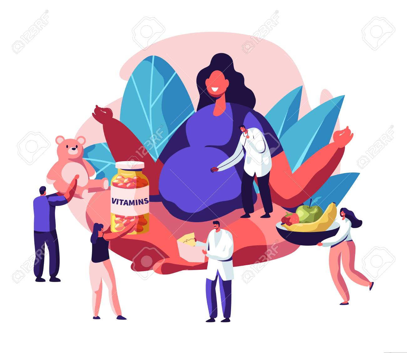 Huge Pregnant Woman with Big Belly Sitting in Lotus Pose Surrounded with Doctors Giving her Vitamines, Baby Toys, Healthy Nutrition. Female Character Happy Pregnancy, Cartoon Flat Vector Illustration - 122636463