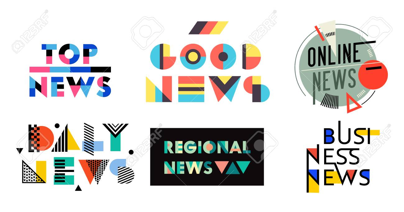 News Geometric Labels, Badges, Quotes Set. Top, Good, Online, Daily, Regional, Business News, Media Design Elements, Magazine Typography Message, Information Stickers, Signs Icons. Vector Illustration - 123181331