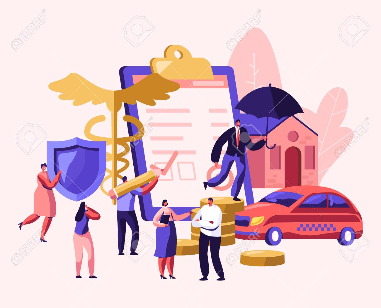 Property and Health Medical Insurance. Male and Female Characters Sign Insurance Policy Paper, Document for Having Guarantee and Money. Car, Home, Life Protection Cartoon Flat Vector Illustration - 123180451