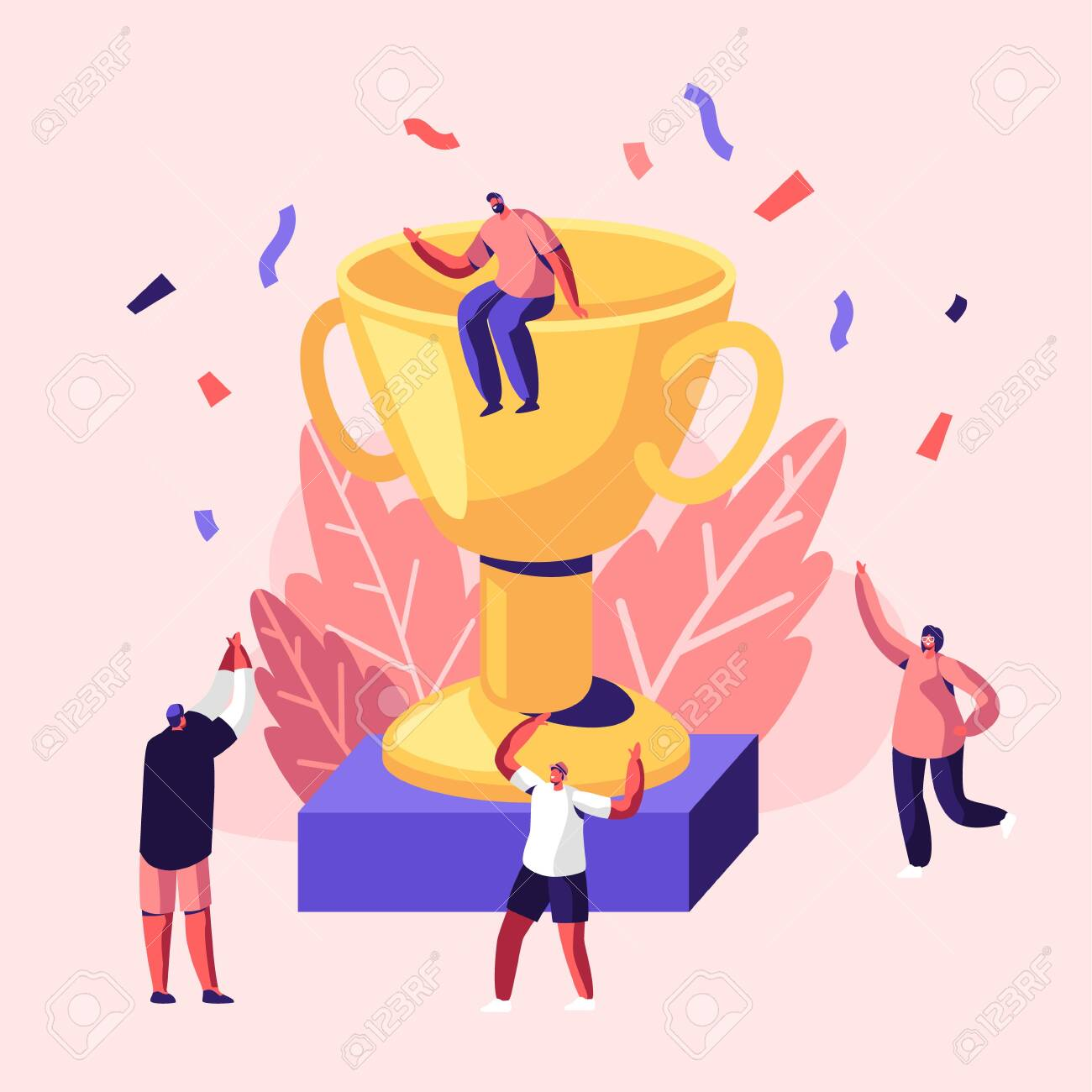 Cheerful People Celebrating Win Laughing with Hands Up around of Huge Gold Cup with Man Sitting on Top. Joyful Colleagues, Employees Rejoice for New Project, Success. Cartoon Flat Vector Illustration - 124052434