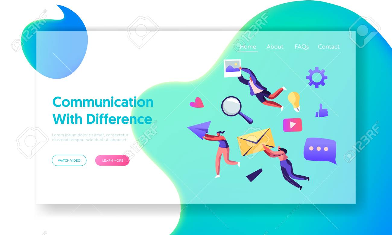 Communication Concept, People Holding in Hands Envelope, Paper Airplane, Photo. Social Media Networking, Internet Accounting Website Landing Page, Web Page. Cartoon Flat Vector Illustration, Banner - 128442231