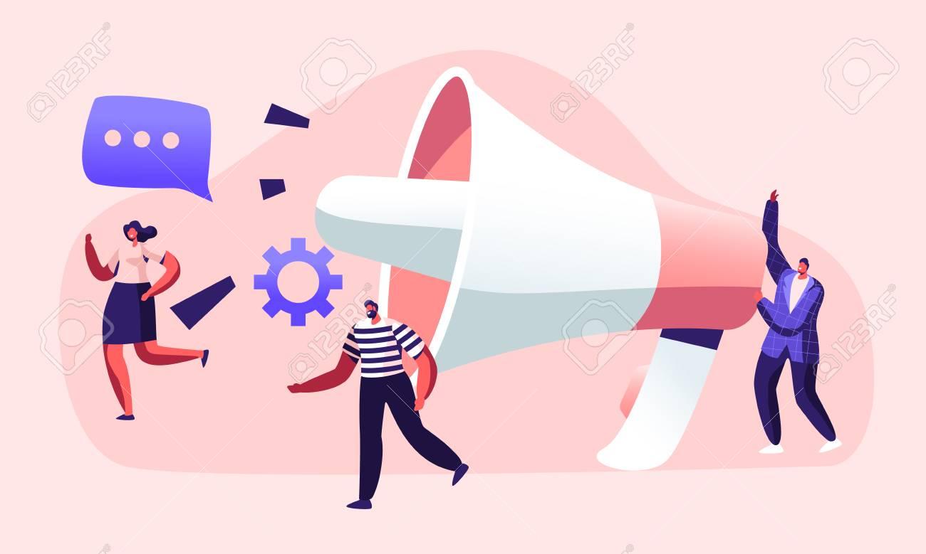 Public Relations and Affairs, Communication, Pr Agency Marketing Team Work with Huge Megaphone, Alert Advertising, Propaganda, Speech Bubbles, Social Media Promotion. Cartoon Flat Vector Illustration - 128442266