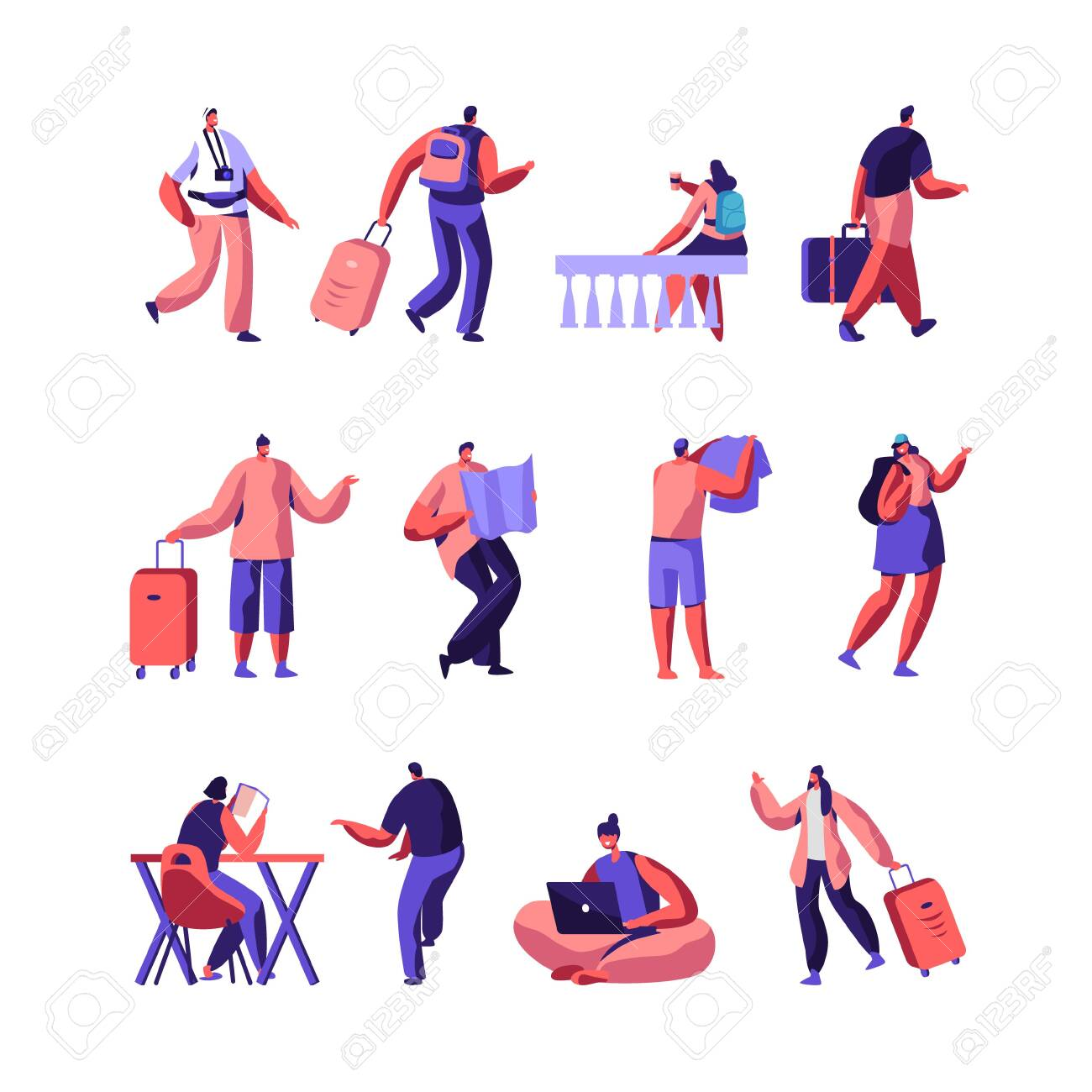 Set of Diverse Young People with Luggage and Maps Traveling and Stay in Hotel or Hostel. Male, Female Tourist Characters Staying at Night, Accommodation for Travelers. Cartoon Flat Vector Illustration - 125556238
