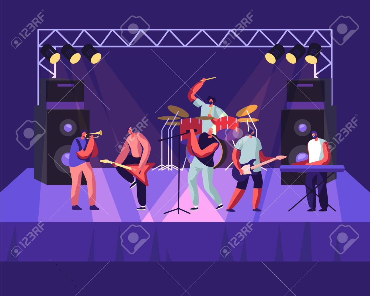 Rock Band Performing on Stage. Electric Guitarists, Drummer, Singer, Trumpeter Music Concert. Men Artists in Rocking Outfit Playing with Musical Instruments, Show. Cartoon Flat Vector Illustration - 128442716