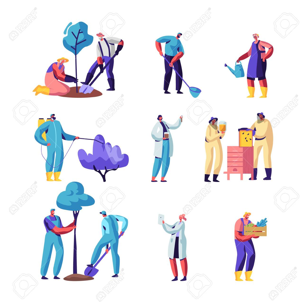 Farmers, Beekeepers, Gardeners Set. Characters Growing and Care of Plants in Garden or Greenhouse, Planting Trees, Collect Crop on Farm, Produce Honey, Seasonal Work, Cartoon Flat Vector Illustration - 128442885
