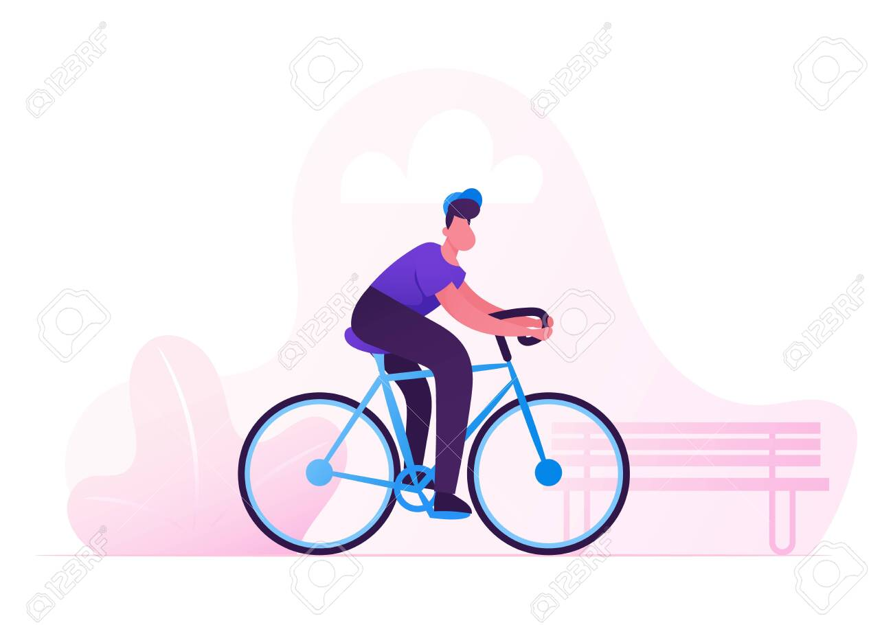 Man Cyclist Riding Bike Outdoors in Summer Day on City Park Background. Bicycle Active Sport Life and Healthy Lifestyle Activity, Ecology Transport in Town, Bike Rider Cartoon Flat Vector Illustration - 128443584
