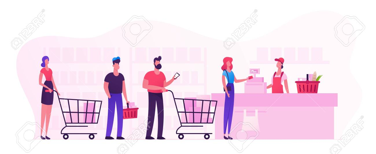 Customers Stand in Line at Grocery or Supermarket Turn with Goods in Shopping Trolley Put Buys on Cashier Desk for Paying. Purchases, Sale Consumerism, Queue in Store Cartoon Flat Vector Illustration - 128443587