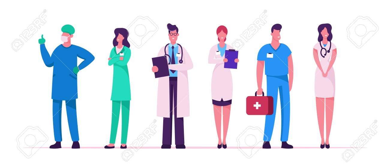 Hospital Healthcare Staff Set, Doctors in Medical Robe with Stethoscope Holding Notebook, Surgeon Character in Uniform, Nurse Clinic, Medicine Profession Occupation Cartoon Flat Vector Illustration - 129986502