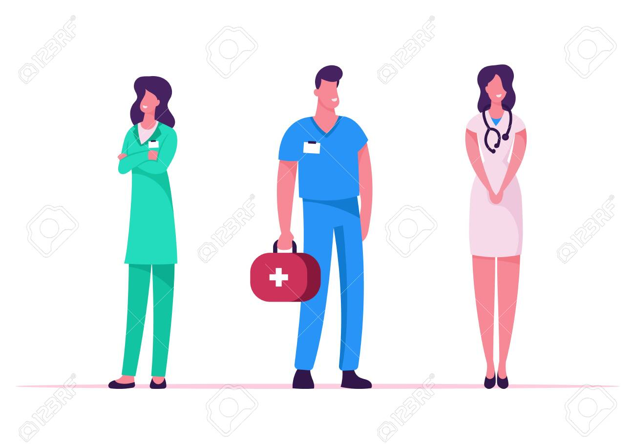 Medicine Profession, Occupation. Doctors and Nurses in Robe with Medical Tools Stand in Row Speaking and Communicating in Clinic, Hospital Healthcare Staff at Work, Cartoon Flat Vector Illustration - 129986492