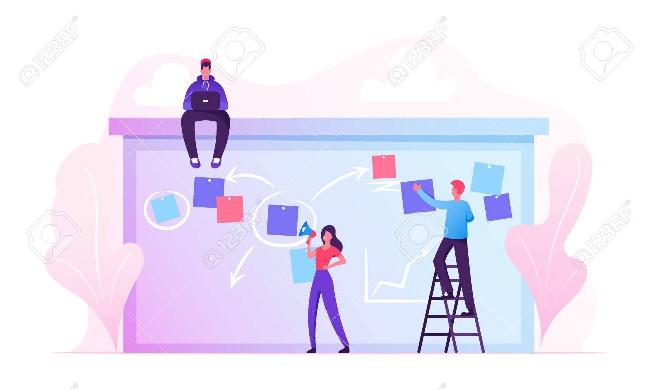 Businesspeople Scheduling Work on Agenda Schedule Task Board with Sticky Notes Standing on Ladder. Business People Planning Teamwork Events in Office Interior Concept Cartoon Flat Vector Illustration - 133187722