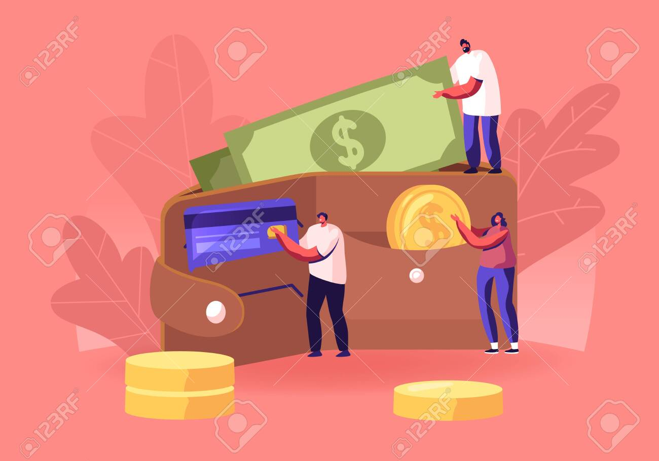 Successful Business People Put Money in Huge Purse. Tiny Men and Women Characters Holding Huge Golden Coins and Currency Bills. Savings, Cash and Credit Cards Concept. Cartoon Flat Vector Illustration - 133218247