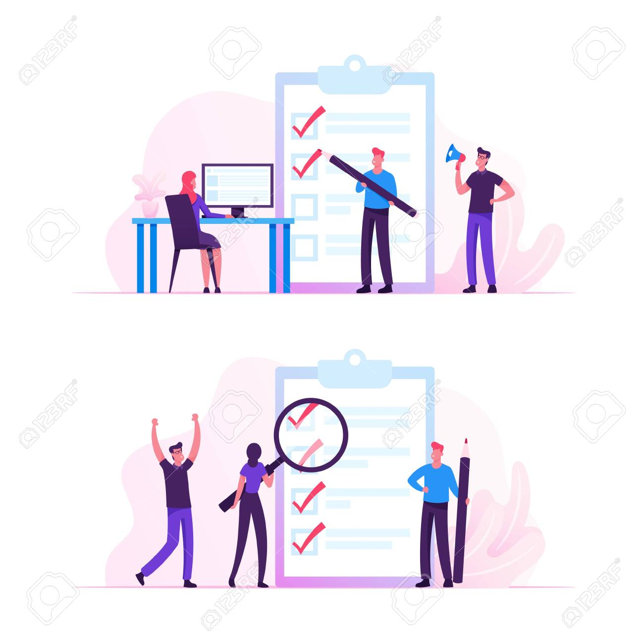 Business People Stand at Huge Clipboard with Check List Filling Marks by Pen Searching Solution and Thinking New Idea. Scheduling, Inspiration Creative Process Concept Cartoon Flat Vector Illustration - 133228273