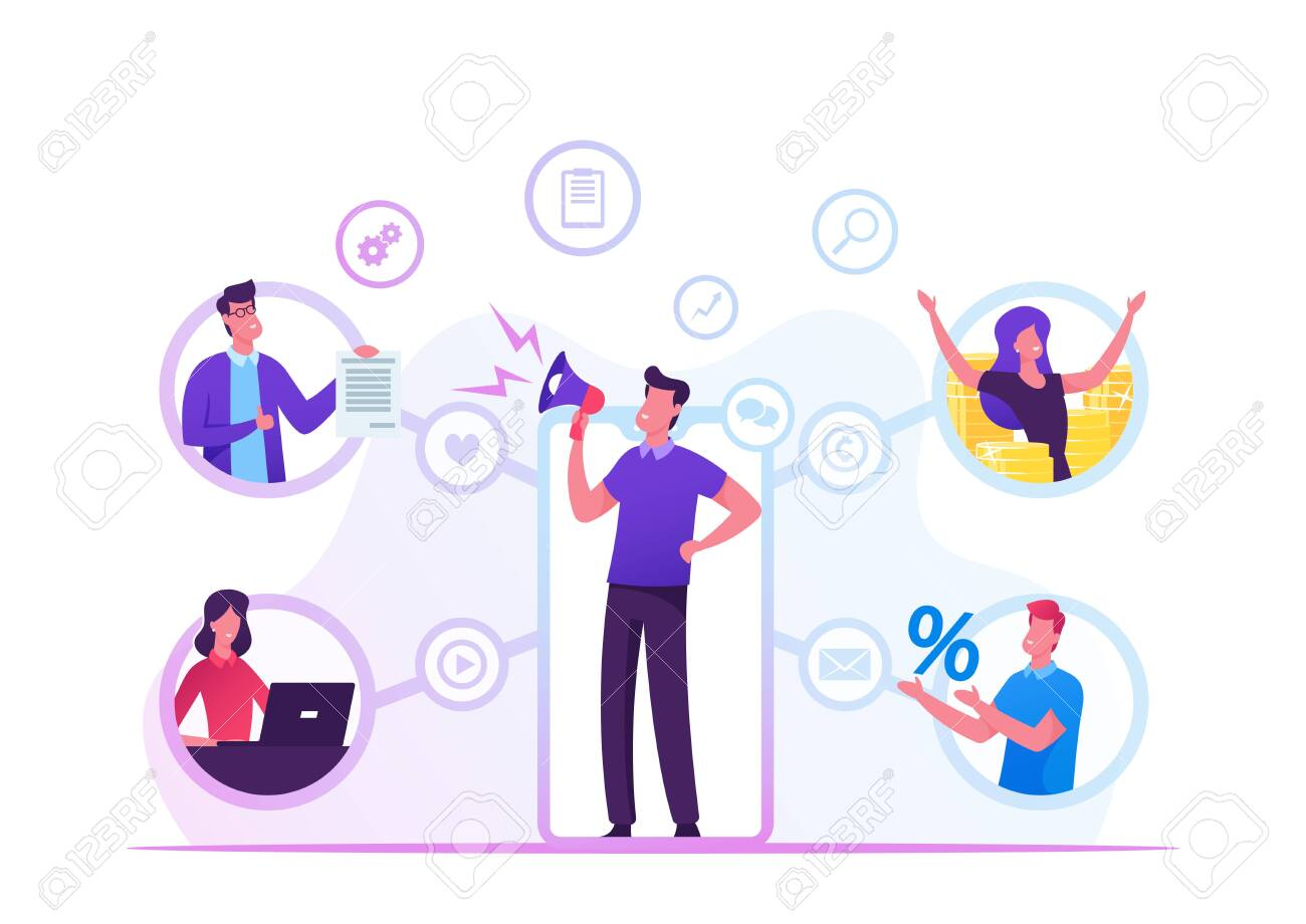 Referral Program Business Concept. Salesman Shouting to Megaphone Attracting Audience to Refer Friends. People Connected with Internet and Relationship Network, Cartoon Flat Vector Illustration - 137587294