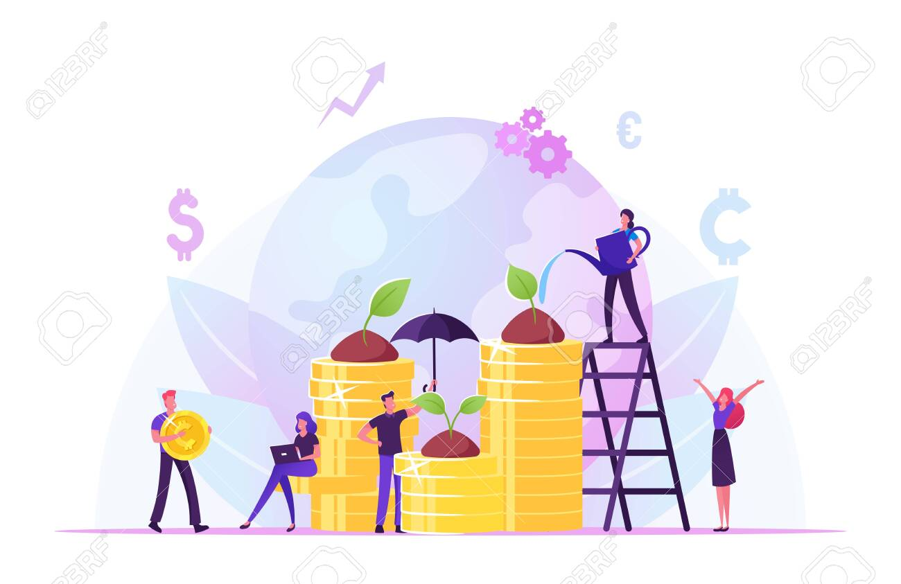 Corporate Social Responsibility. Ethical and Honest Persons Growing Plants on Coins. Strategy for Sustainable and Fair Rights Organization Management or Csr Teamwork. Cartoon Flat Vector Illustration - 137700611