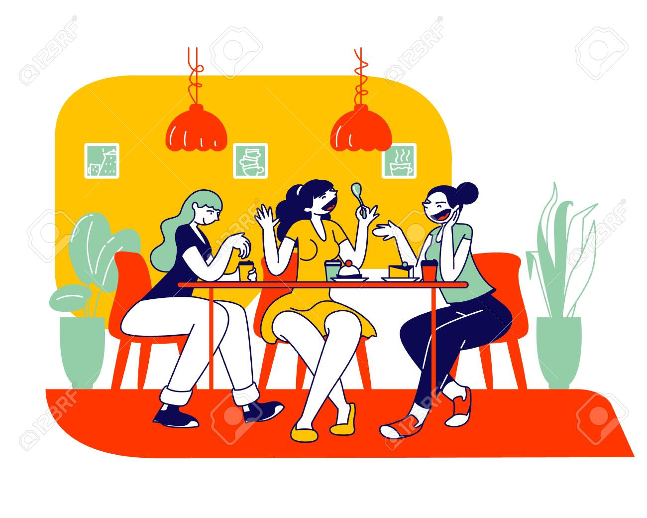 Happy Girls Friends Company Sitting In Cafe Chatting And Drinking Coffee With Pastry And Bakery Students Or Office Workers Lunch Break Weekend Recreation Cartoon Flat Vector Illustration Line Art Royalty Free Cliparts