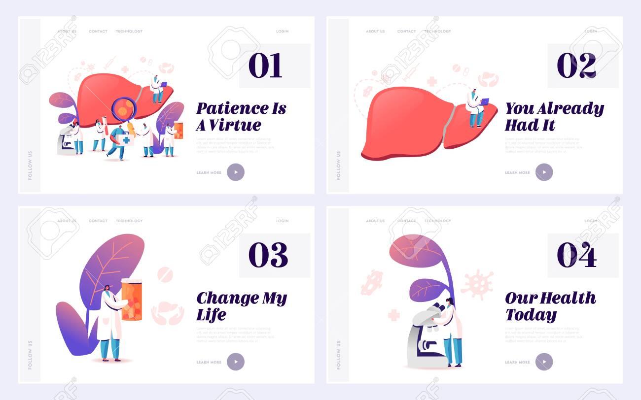 Hepatitis and Cirrhosis Treatment Website Landing Page Set. Cancer Awareness, Internal Organs Disease Treatment, Medical Healthcare, Hepatic Charity Web Page Banner. Cartoon Flat Vector Illustration - 140863534