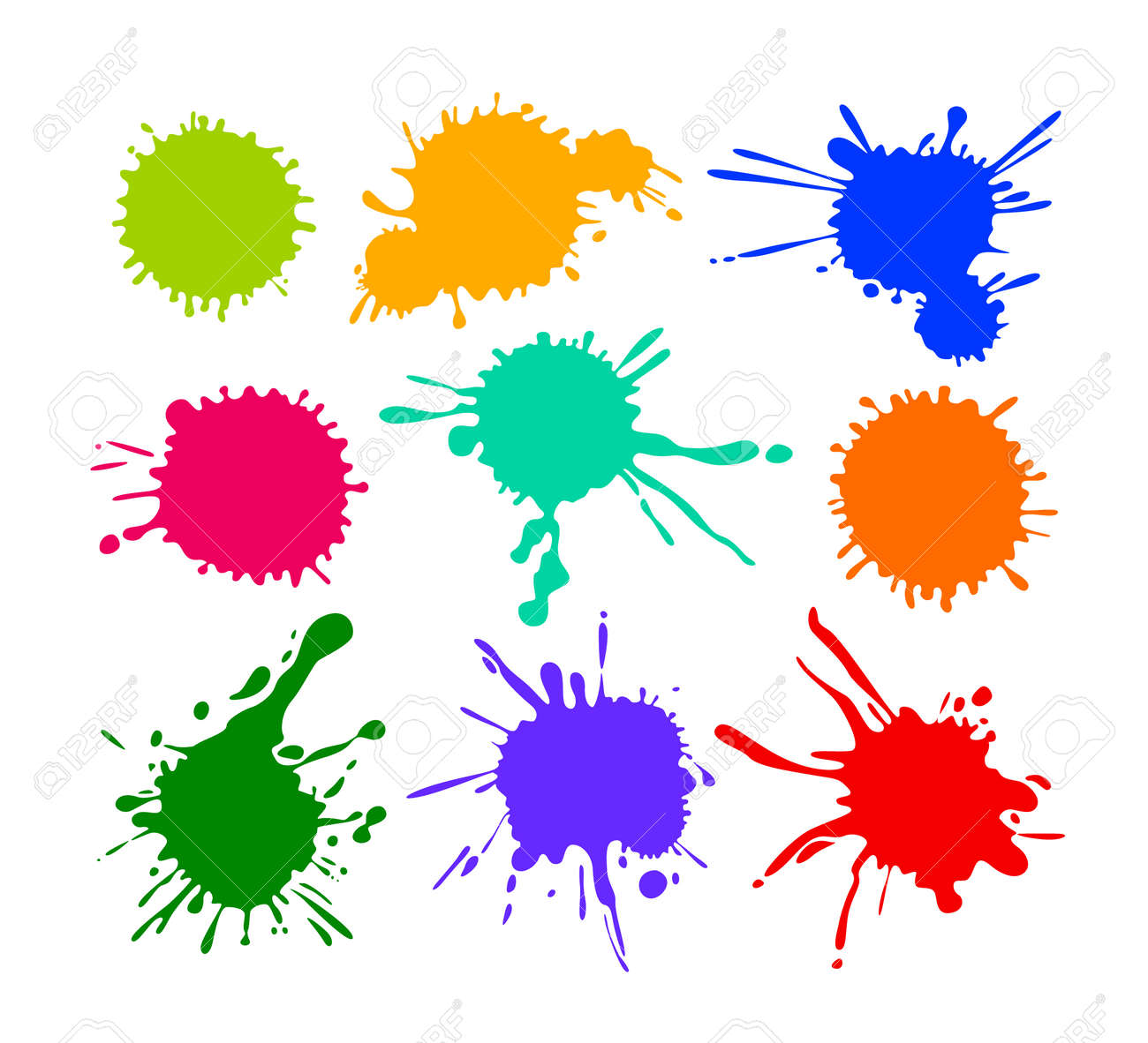Set of Cartoon Blots and Splatters, Multicolored Blob Icons Isolated on White Background. Bright Paint Brush Yellow Red Blue and Green Colors. Colorful Design Elements, Splashes. Vector Illustration - 142780725