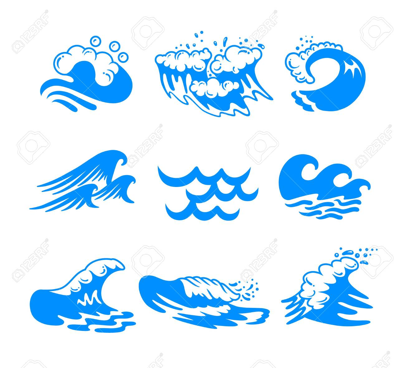 Set of Blue Water Sea or Ocean Waves and Splashing of Different Shapes Isolated on White Background. Minimalistic Icons, Labels or Signs for Advertising Promo Banner. Vector Illustration, Clip Art - 142812875
