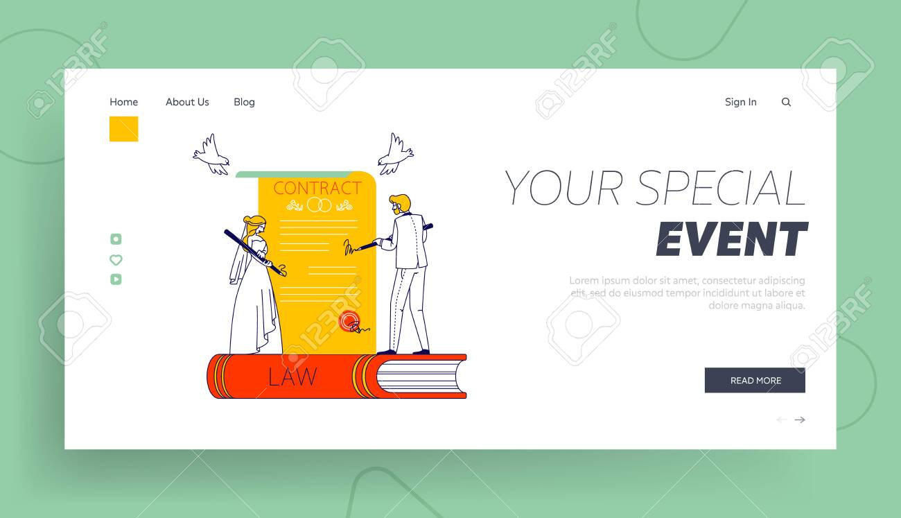 Bridal Ceremony, Notary Formalities, Registration Certificate Landing Page Template. Tiny Couple of Bride and Groom - 148040587