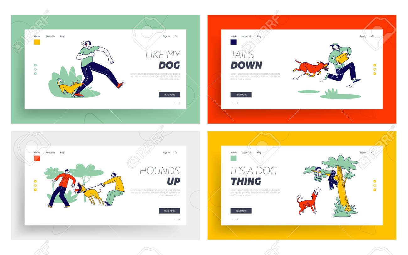 Dog Attack Landing Page Template Set. Aggressive Animals Biting and Barking on Characters. Delivery Man with Parcel - 148040484