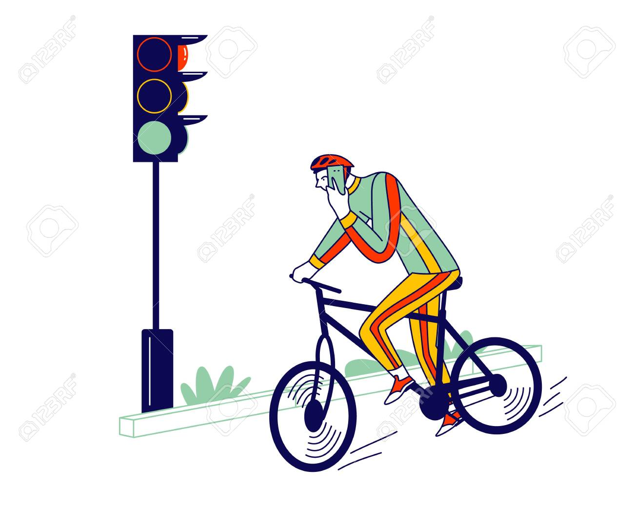 Careless Biker Male Character Riding Bicycle on City Road Speaking by Smartphone Ignoring Traffic Light. Human Carelessness Concept, Danger on Road, Harmful Gadget Impact. Linear Vector Illustration - 148200071