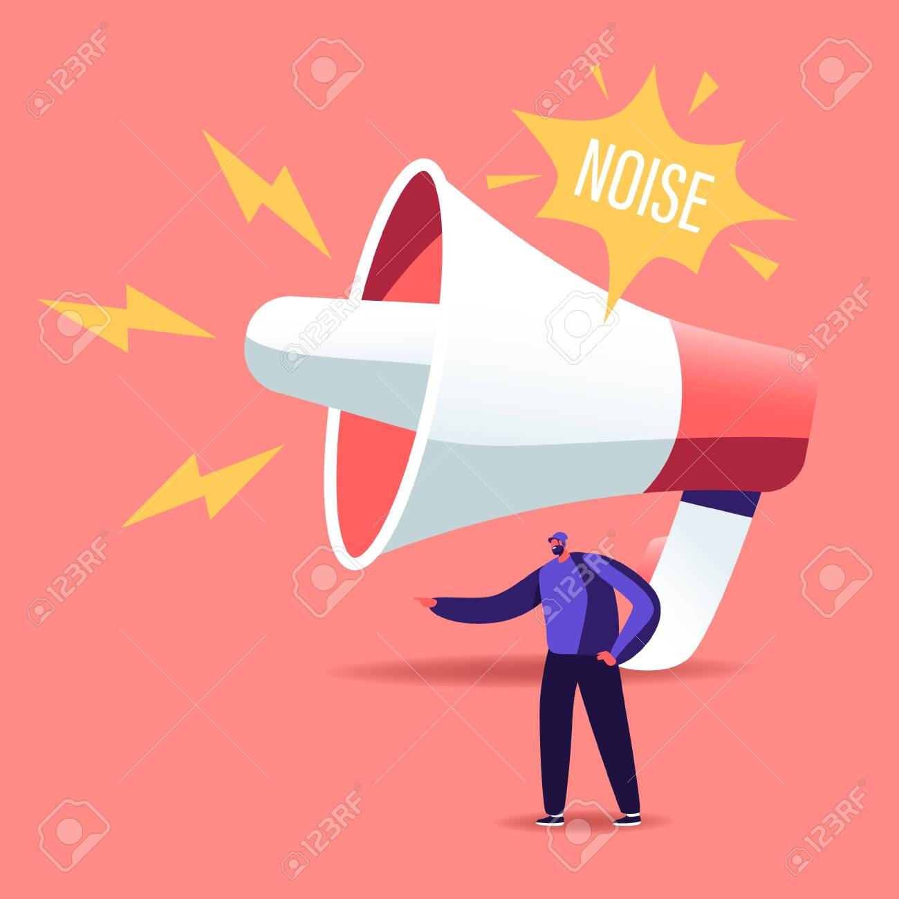 Tiny Male Character stand at Huge Megaphone Suffering of Noise Pollution. Big City Dweller Hearing Loud Sounds - 148097844