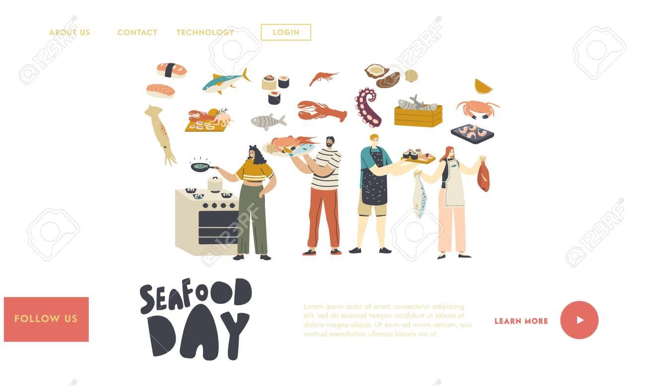 People Cooking Seafood Landing Page ...