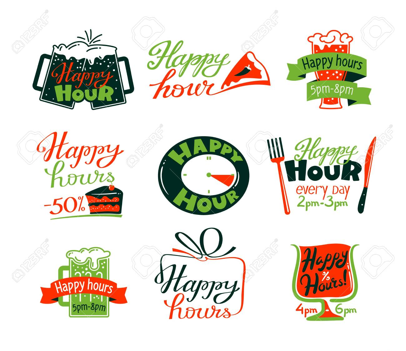 Happy Hour Icons Set, Discount Special Offer for Cafe or Restaurant Visitors, Promo Labels with Beer Mug, Cake and Clock - 153195100