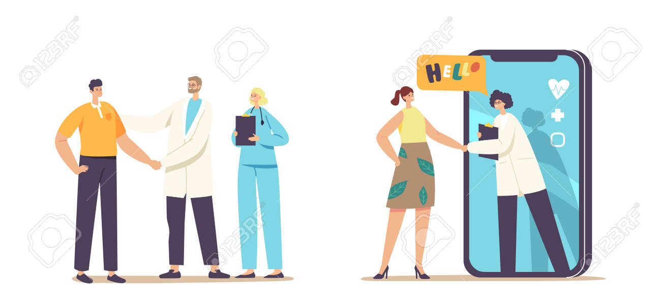 Patient Gratitude Doctors with Shaking Hand. Distant Online Medicine Consultation, Smart Medical Technologies. Doctors Characters Communicate with Client via Mobile. Cartoon People Vector Illustration - 167058712