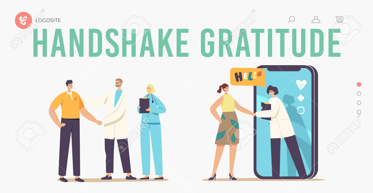 Patient Gratitude Doctors with Shaking Hand Landing Page Template. Medicine Consultation, Smart Medical Technologies - 167058713