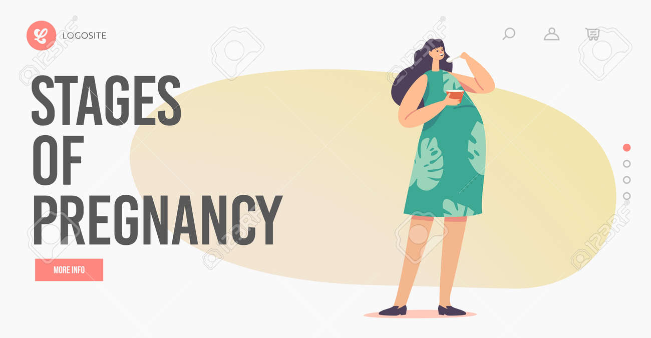 Stages of Pregnancy Landing Page Template. Female Character with Big Belly Enjoy Meal. Pregnant Woman Eating Soup - 171857232